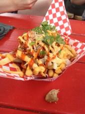 Chi'Lantro - Kimchi Fries with Soy Glazed Chicken