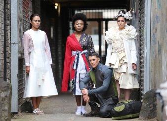 "(L-R) Alice Langton design ""Craft Explorer"", Shauna Harrisson design ""Oriental Blossom"", winner Lamis Goumaa design ""Fauna"", Mollie Sinnott design ""We Are the Flowers in Your Dustbin"""