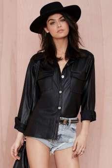 Nasty Gal €30.36 - Won't Back Down Vegan Leather Shirt http://bit.ly/1zDYTeE