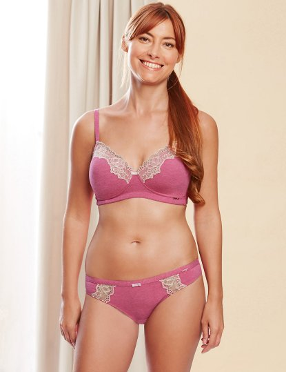 Rosie for Autograph Marks & Spencer €27 - Breast Cancer Now Post Surgery Lace Trim Padded Full Cup Bra €11 - Modal Rich Lace Trim Knickers http://bit.ly/1RzuQs6