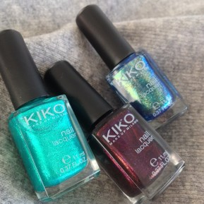 Kiko €2.50 - Nail Lacquer in Pearly Green Butterfly, Pearly Indian Violet, Pearly Blue Peacock http://bit.ly/1O8ldU8