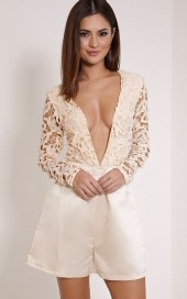 PrettyLittleThing €42 - Mailey Champagne Crochet Lace Plunge Playsuit http://bit.ly/1PN75jF