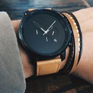 MVMT Watch €122.80 - Chrono Black & Tan Leather Watch http://bit.ly/1QmuOXE