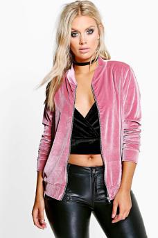Boohoo Plus €24 - Melanie Velvet Bomber Jacket http://bit.ly/2dPE5wC