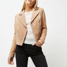 River Island €135 - Blush pink suede biker jacket http://eu.riverisland.com/women/coats--jackets/jackets/blush-pink-suede-biker-jacket-697733