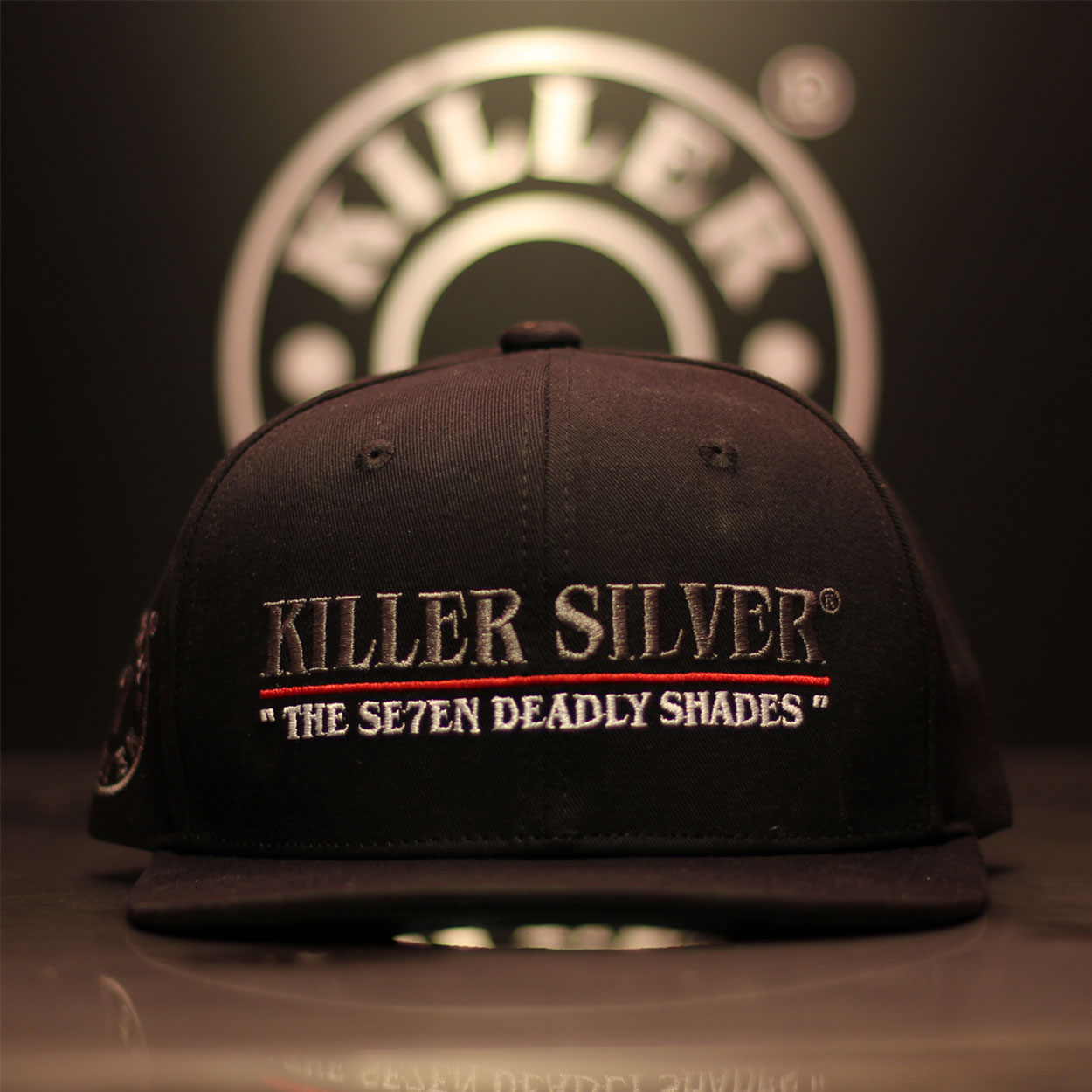 Snapback Hat-Flat Bill-Merchandise-Silver Thread-Killer Silver