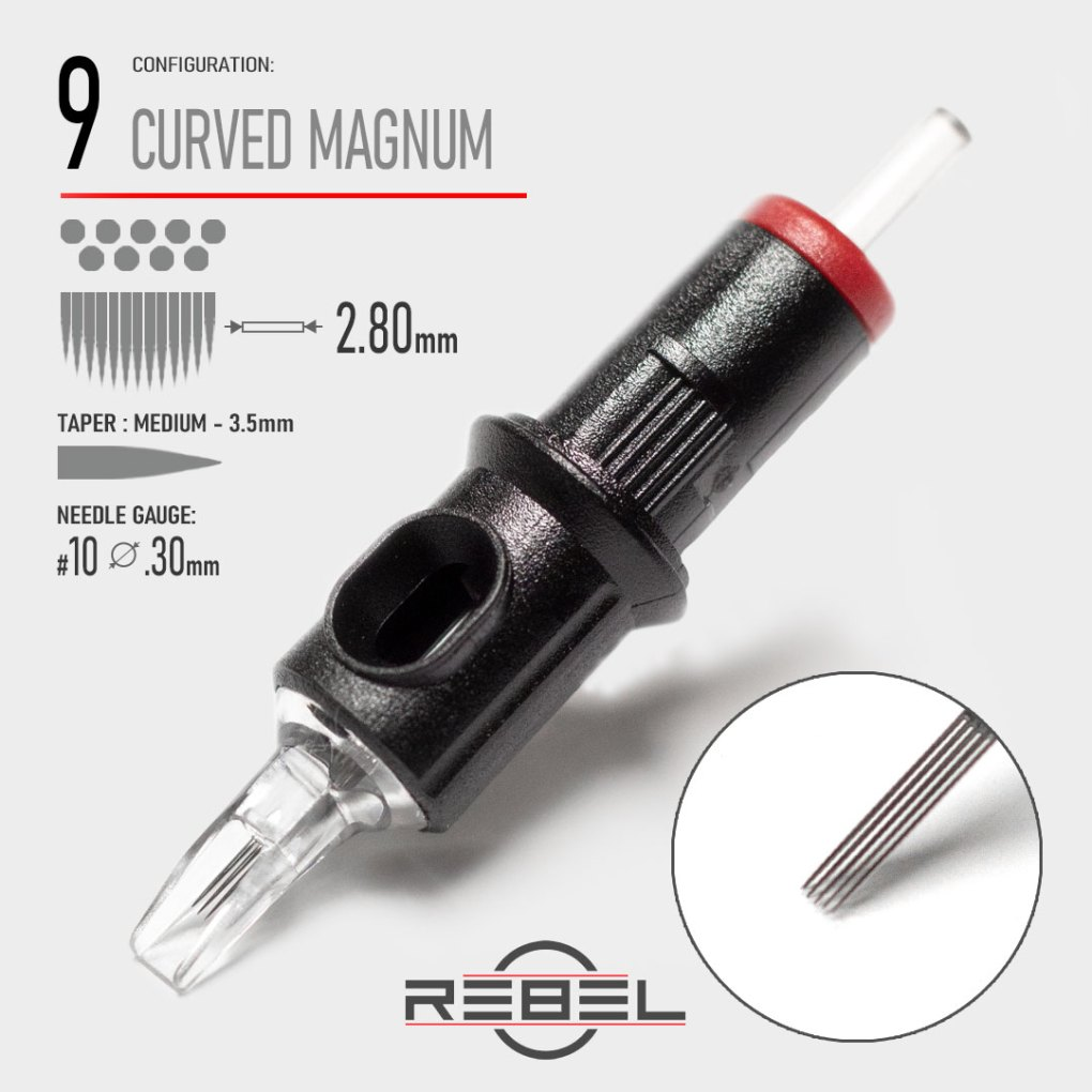 Curved Magnum 9-REBEL-Precision Tattoo Cartridge-Tattoo Needle-Killer Silver