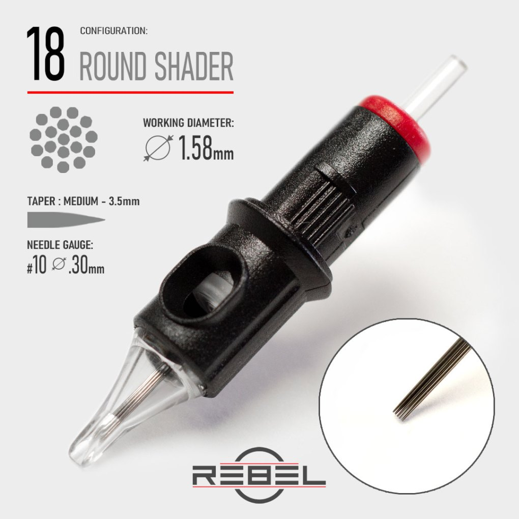 Round Shader 18-REBEL-Precision Tattoo Cartridge-Tattoo Needle-Killer Silver