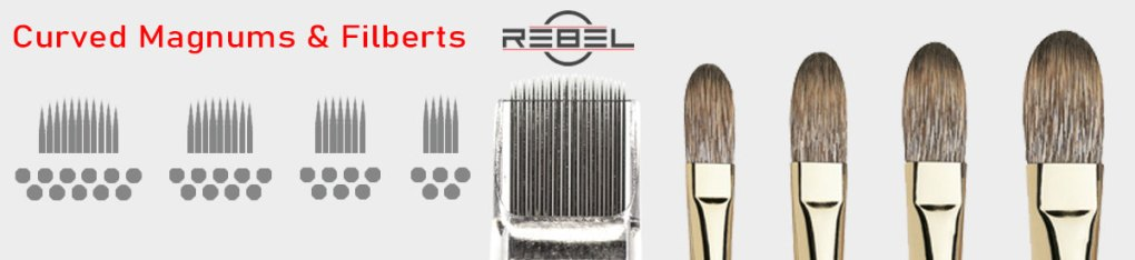 Curved magnum needle configurations compare to paint brushes - REBEL - Killer Silver