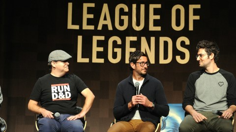 NEW YORK, NY - NOVEMBER 13:  Jamelle Jimenez, George Krstic, Moby Frank, Mark Yetter, and Curtis Churn speak at the Tribeca Games Presents The Craft And Creative Of League Of Legends on November 13, 2015 in New York City.  (Photo by Craig Barritt/Getty Images for Tribeca Games)