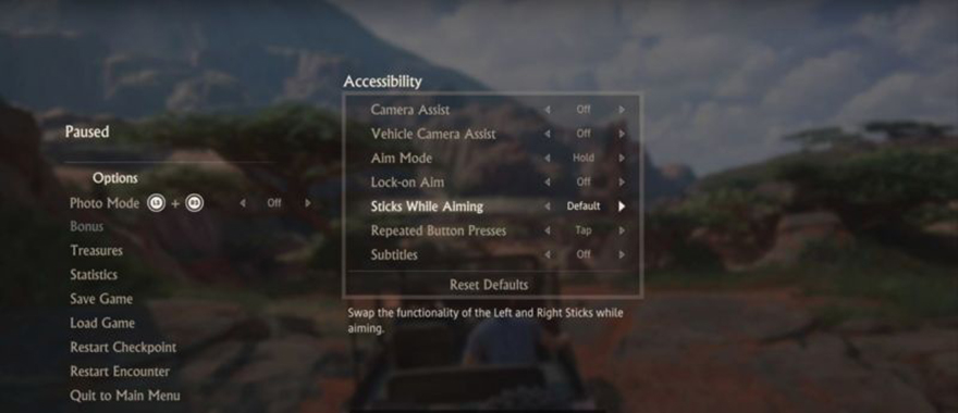 uncharted menu
