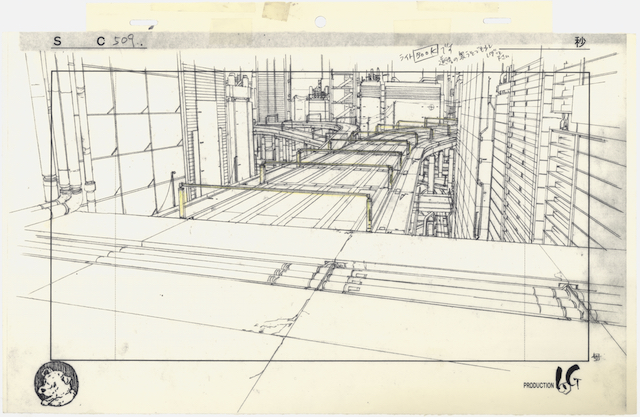 Layout for Ghost in the Shell (1995), cut 509. Pencil and coloured pencil on printed paper, 240 × 370 mm. Illustrator: Takashi Watabe Copyright: © 1995 Shirow Masamune / KODANSHA · BANDAI VISUAL · MANGA ENTERTAINMENT Ltd.