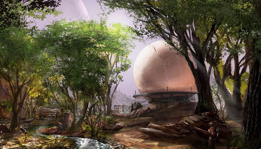 Obduction concept art of a spherical structure in a forest