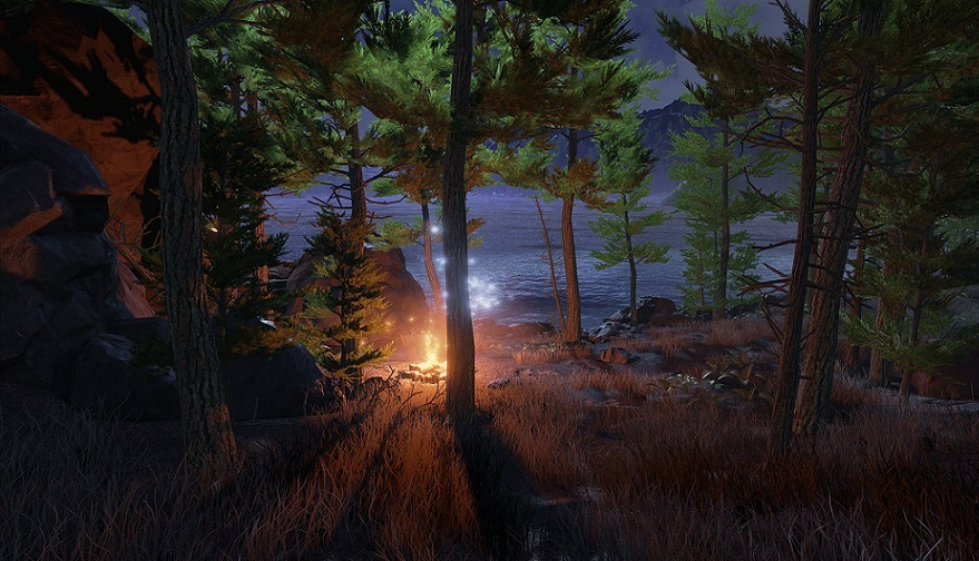 Obduction screenshot of campfire in a forest