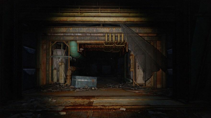 a torch beam frames a dark corridor