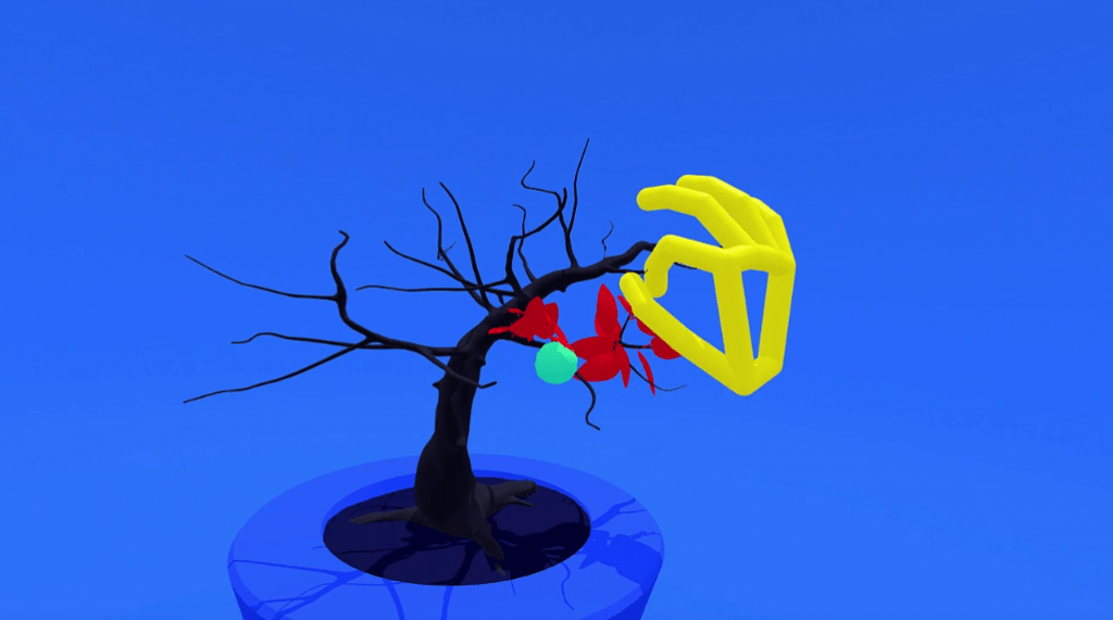 An example of employing precise positioning of a hand in 3D, using a bonsai tree as a canvas.