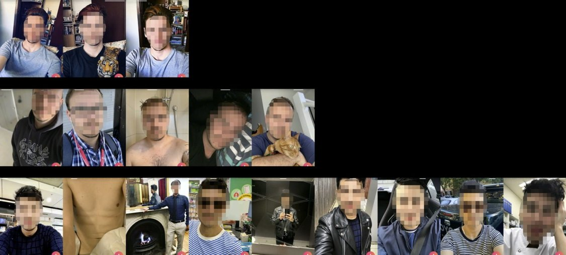 Top row: This guy only has 3 pictures of him sitting in the same chair at home, by himself. He's even wearing the same blue shirt in 2 of them. Middle row: This guy has 5 photos of him in different rooms of his house, again not doing anything exciting. Bottom row: This guy has 9 photos of him by himself. He's even somehow managed to avoid having people in the background when standing outside, almost like he's doing this on purpose...