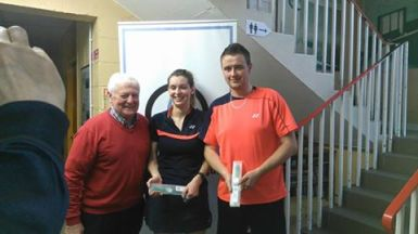 11 September 2016 First win of the season for Kilmacthomas Badminton club. Garvan Dunford and Rachel Walsh. Winners of the section 3 mixed in the South West Leinster badminton shuttlefest.. Well done to everyone from Kilmac who took part over the 2 days.