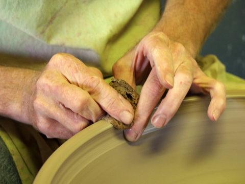 Dan Throwing Stoneware Sink — Photo by Chuck Weaver