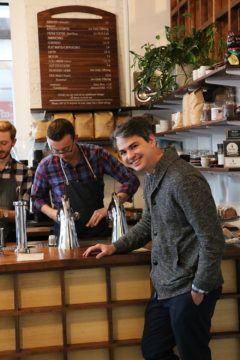Patrick Barter of Gracenote Coffee Shop, Lincoln Street, Boston.