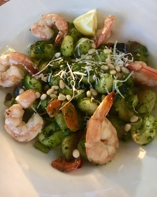 shrimp with gnocchi and pesto