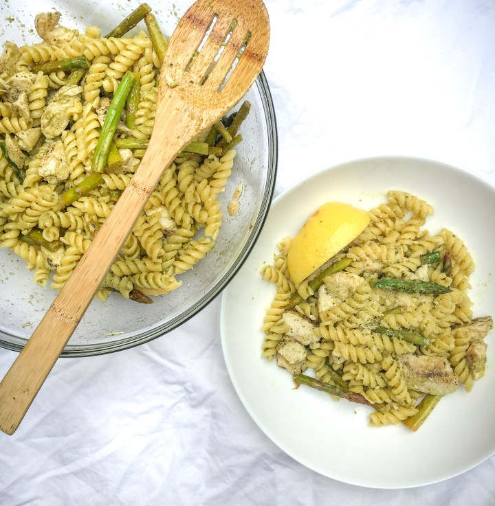 Warm Lemon Pesto Pasta Salad