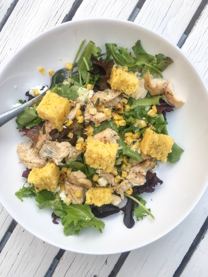 My go-to salad: mixed greens, chicken. cornbread croutons, corn, craisins, shaved almonds, goat cheese, and a citrus vinaigrette