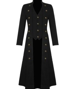 Black Handmade Steampunk Military Trench Coat Long Jacket Black Gothic VTG