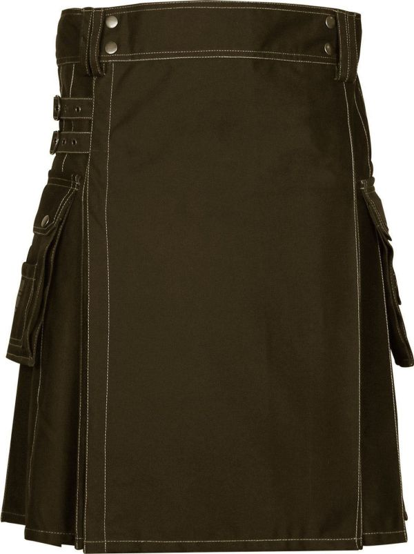 Handmade-Brown-Deluxe-Utility-Fashion-Kilt-Front