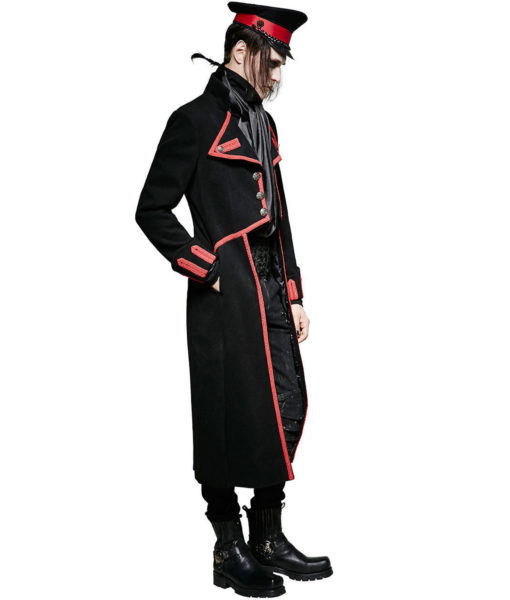 Men Military Long Coat Jacket Black Red Goth Steampunk Regency Aristoc (1)