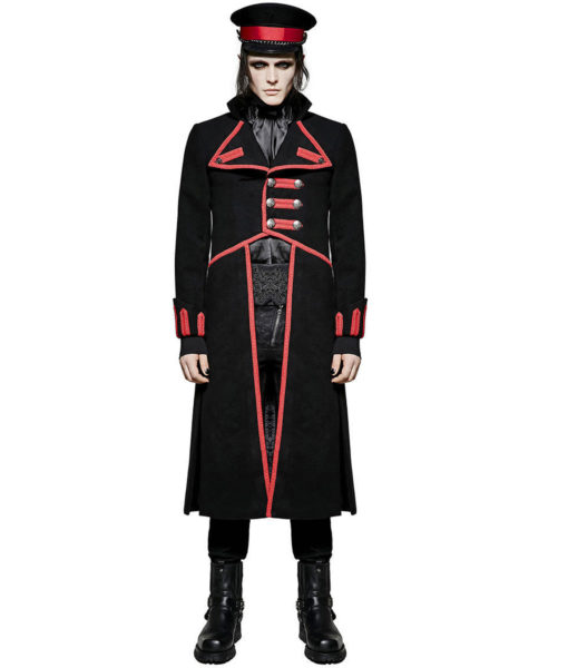 Men Military Long Coat Jacket Black Red Goth Steampunk Regency Aristoc (6)