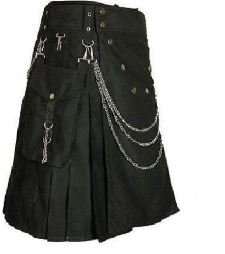 Men-handmade-Black-Deluxe-utility-fashion-kilt-Cotton-with-Chrome-Chain