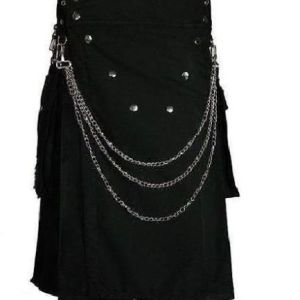 Black Deluxe Utility Fashion Kilt With Chrome Chain for workman