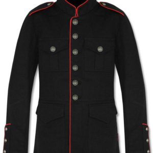 Military Jacket Mens Black Red Goth Steam Punk Army Officer Pea Coat