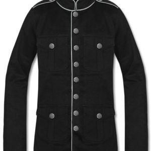 Military Jacket Black White Goth Steam Punk Army Officer Pea Coat