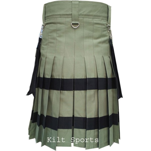 Olive-Scottish-Sports-Traditional-Fashion-Kilt-back