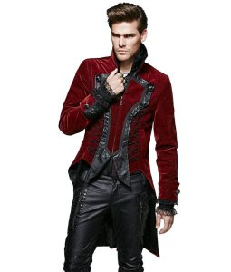 Punk Rave Dandy Mens Jacket Coat Red Goth VTG Steampunk Velvet Tailcoat Wedding