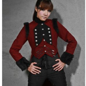 RQBL Womens Military Coat Jacket Red Black Tailcoat Gothic VTG Steampunk