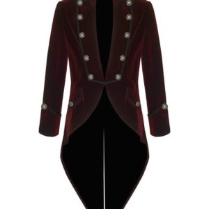 Red Velvet Goth Steampunk Victorian Tail Coat Jacket