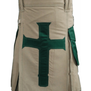 Khaki Christ Kilt with Green Pockets for Men
