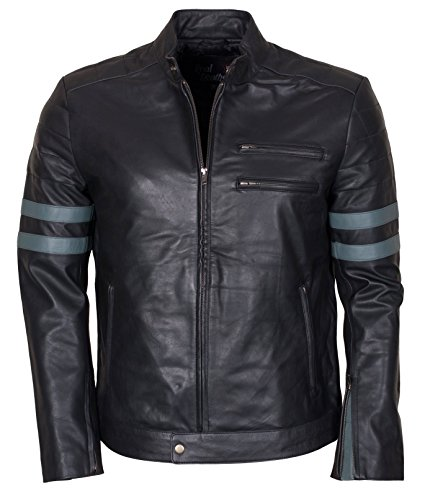 Men Retro Hybrid Mayhem Brad Pitt Black Genuine Leather Jacket (3)