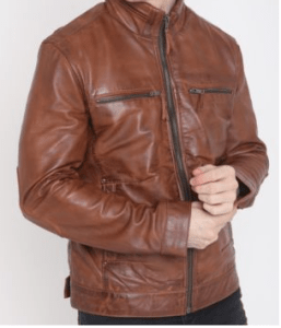 Mens Brown Leather Jacket Biker Style Slim Fit Fashion Jacket