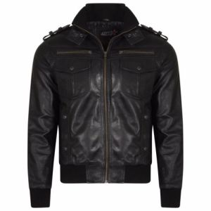 Men vintage leather jacket with Double Pockets real Leather slim bomber jacket