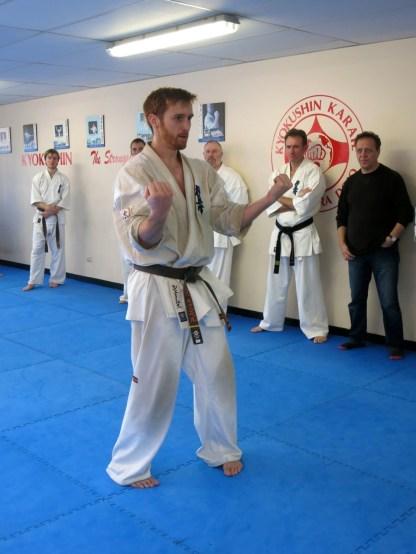 Sempai James performs Sanchin kata