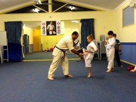 Ayla doing tameshiwari (board breaking)