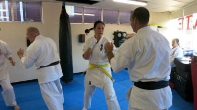 Amanda sparring for her grading.