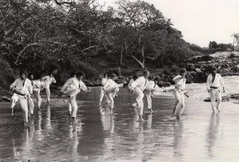 Shihan Howard (far right) teaching outdoors