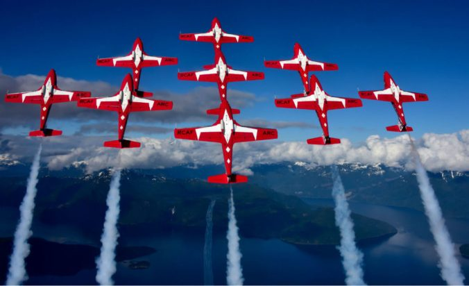 Snowbirds flying in the sky
