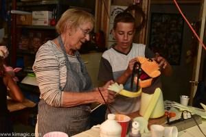 Noreen Young and Jonathan making Ninja puppet character