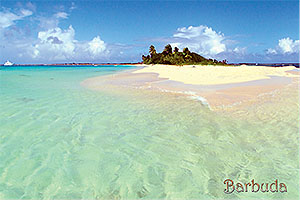 "Coco Point in Barbuda, Antigua W.I. Collectible Postcard BB461,  size 153mm * 102mm ( 6"" x 4"")"